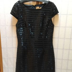 Black dress with sequin stripes--NEW without tags